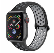 Strap-it® Apple Watch sport+ band (zwart/grijs)