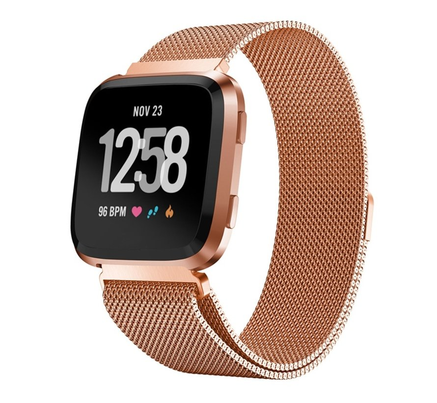 Strap-it® Fitbit Versa Milanese band (rosé goud)