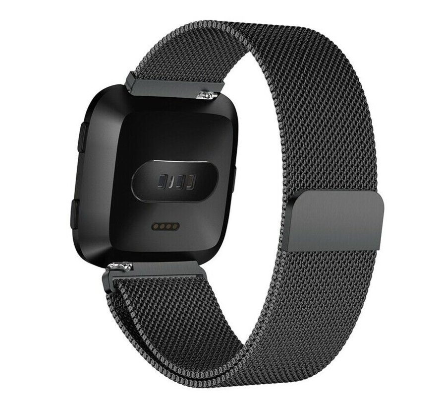 Strap-it® Fitbit Versa Milanese band (zwart)