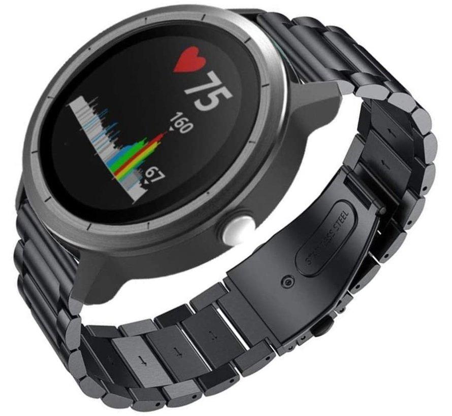 Strap-it® Garmin Vivoactive 3 stalen band (zwart)