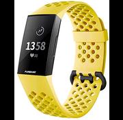 Strap-it® Fitbit Charge 4 siliconen bandje met gaatjes (geel)
