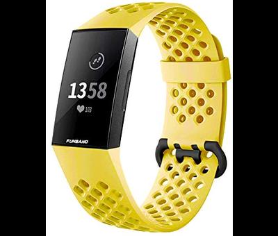 Strap-it® Strap-it® Fitbit Charge 4 siliconen bandje met gaatjes (geel)