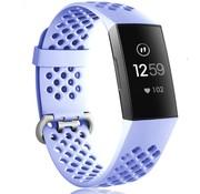 Strap-it® Fitbit Charge 3 siliconen bandje met gaatjes (lila)
