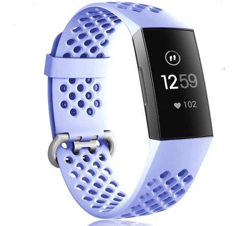 Strap-it® Strap-it® Fitbit Charge 3 siliconen bandje met gaatjes (lila)