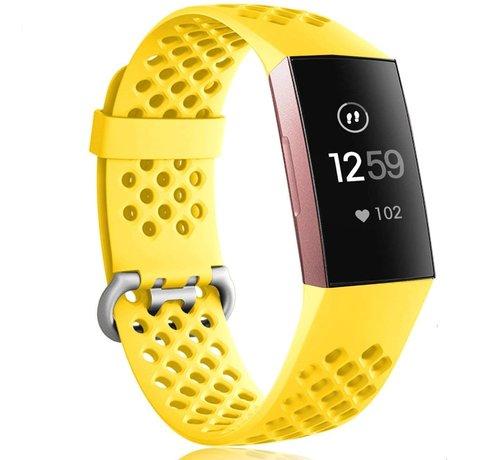 Strap-it® Strap-it® Fitbit Charge 3 siliconen bandje met gaatjes (geel)