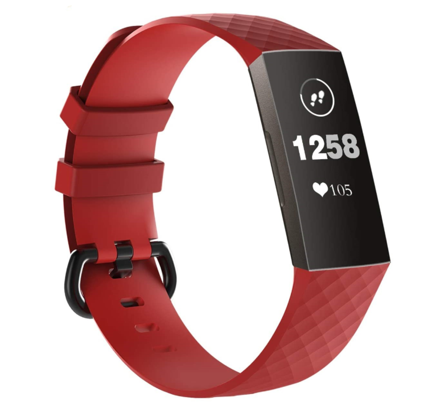 Strap-it® Fitbit Charge 3 silicone band (rood)