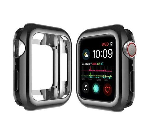 Strap-it® Strap-it® Apple Watch silicone case (zwart-metalic)