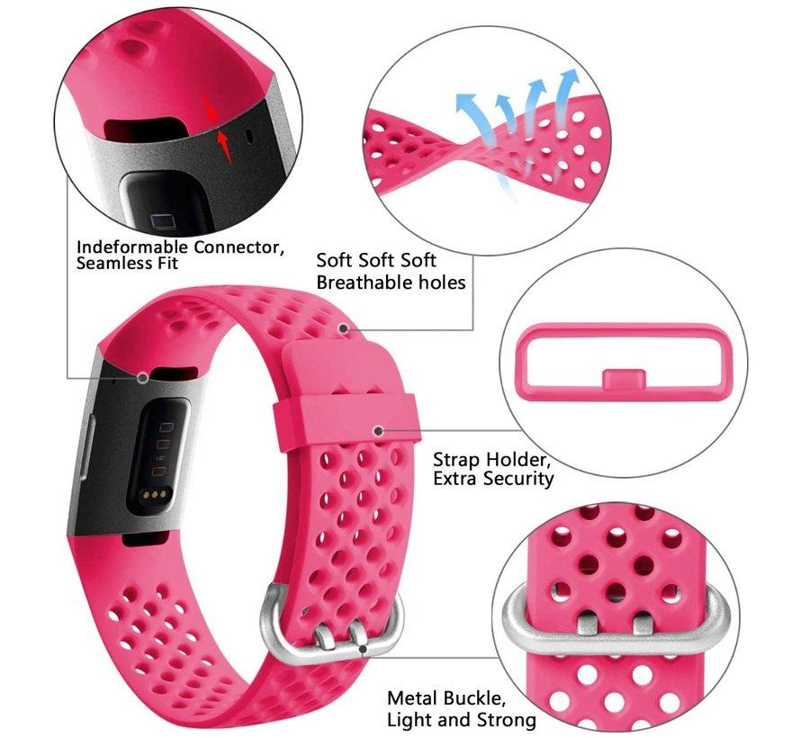 Strap-it® Fitbit Charge 3 siliconen bandje met gaatjes (roze)