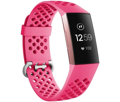 Strap-it® Strap-it® Fitbit Charge 3 siliconen bandje met gaatjes (roze)