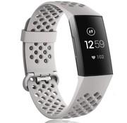 Strap-it® Fitbit Charge 3 siliconen bandje met gaatjes (grijs)