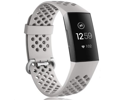Strap-it® Strap-it® Fitbit Charge 3 siliconen bandje met gaatjes (grijs)