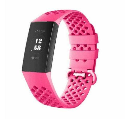Strap-it® Strap-it® Fitbit Charge 4 siliconen bandje met gaatjes (roze)