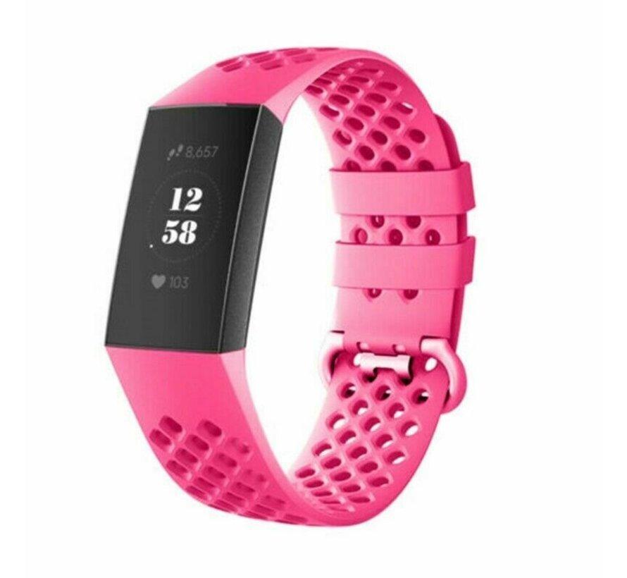 Strap-it® Fitbit Charge 4 siliconen bandje met gaatjes (roze)
