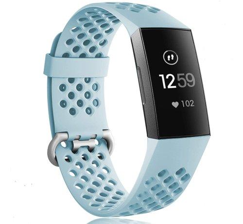 Strap-it® Strap-it® Fitbit Charge 3 siliconen bandje met gaatjes (mint)