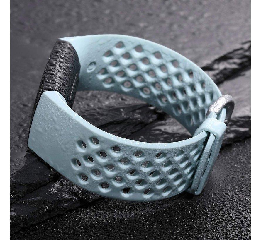 Strap-it® Fitbit Charge 3 siliconen bandje met gaatjes (mint)