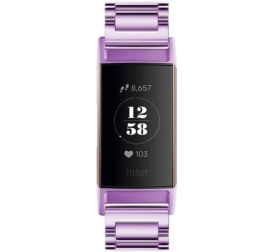 Strap-it® Fitbit Charge 4 stalen band (paars)