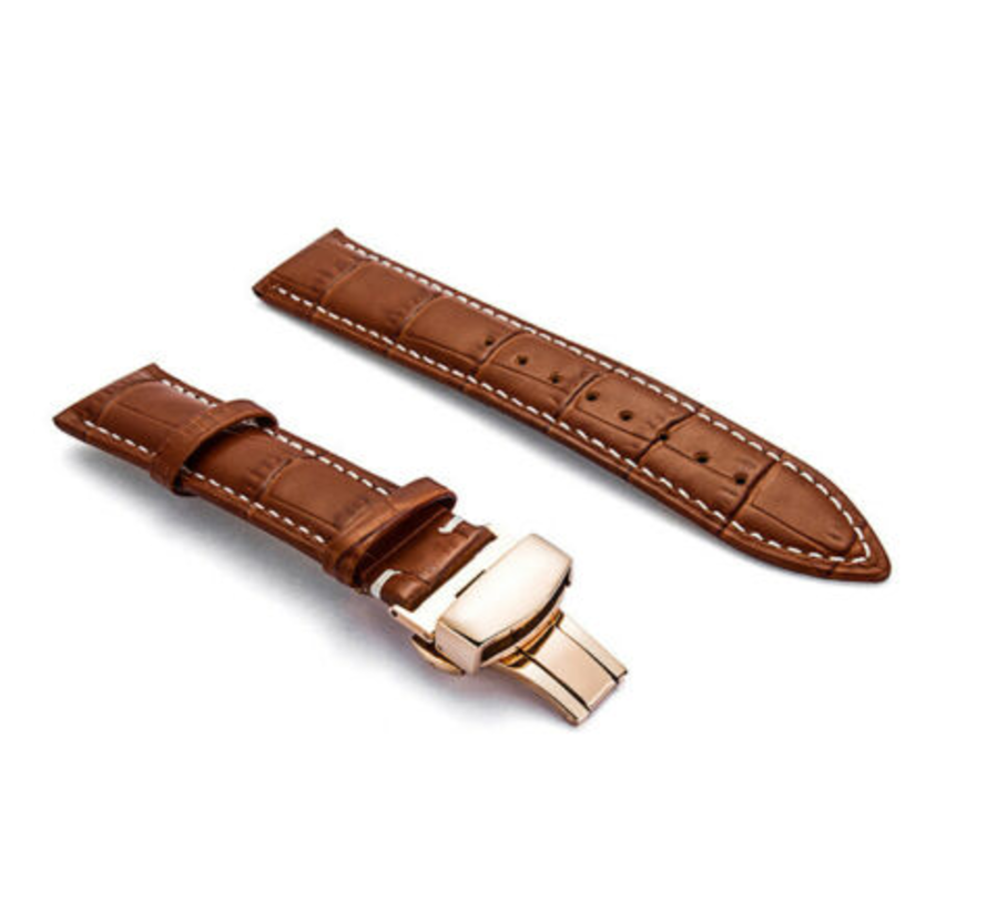 Strap-it® Samsung Galaxy Watch 41mm / 42mm luxe leren band (bruin)