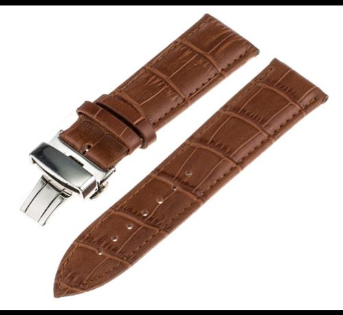 Strap-it® Strap-it® Samsung Galaxy Watch 45mm / 46mm luxe leren band (bruin)