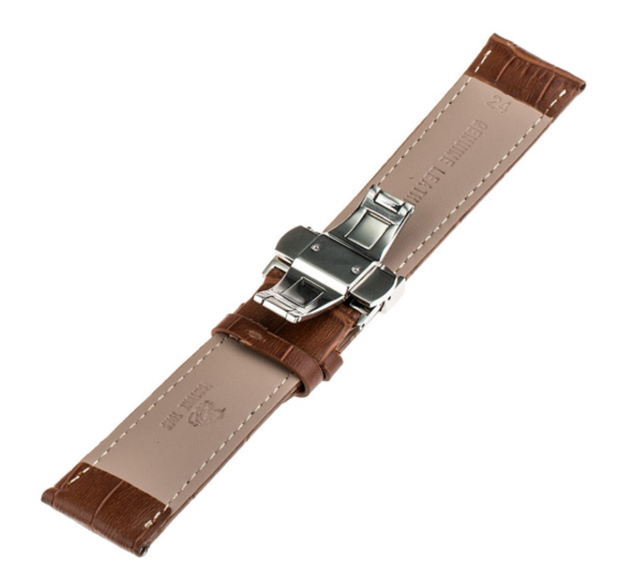 Samsung Galaxy Watch 45mm / 46mm luxe leren band (bruin)