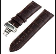 Samsung Galaxy Watch 45mm / 46mm luxe leren band (donkerbruin)
