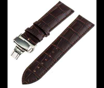 Strap-it® Strap-it® Samsung Galaxy Watch 45mm / 46mm luxe leren band (donkerbruin)