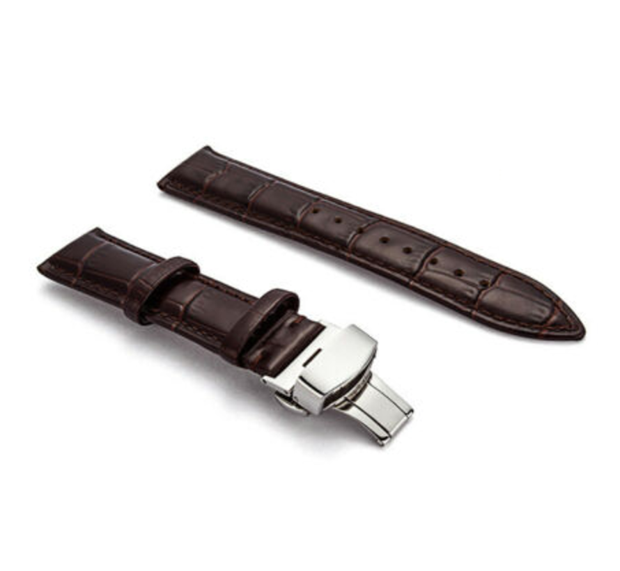 Strap-it® Samsung Galaxy Watch 45mm / 46mm luxe leren band (donkerbruin)
