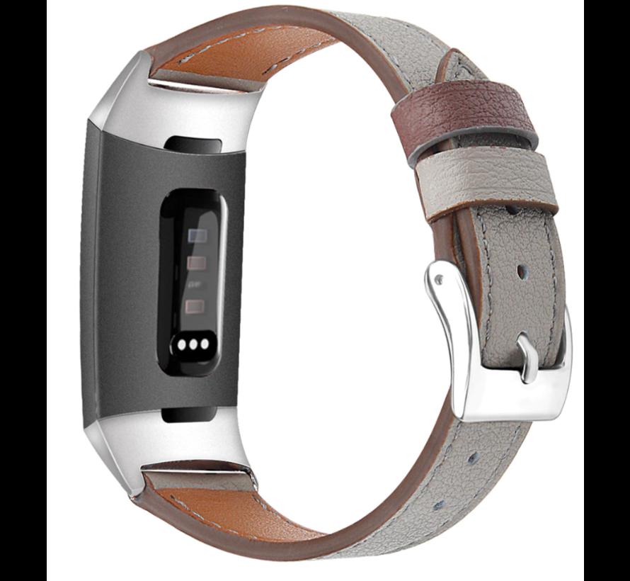 Strap-it® Fitbit Charge 3 leren bandje (donkergrijs)