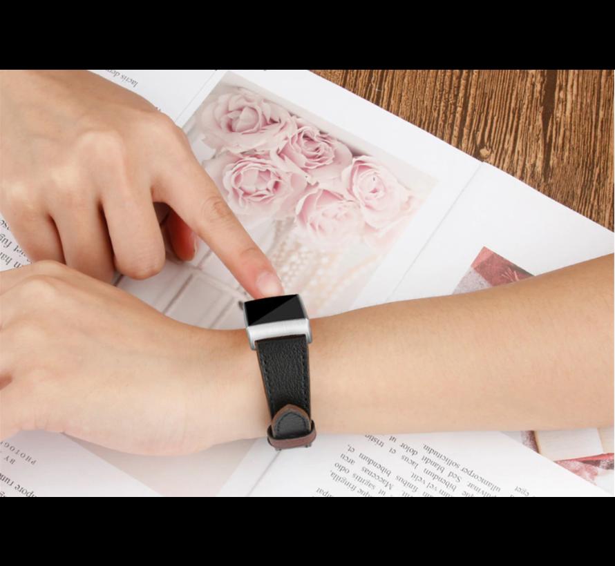Strap-it® Fitbit Charge 3 leren vrouwenbandje (zwart)