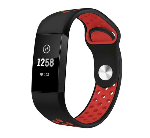 Strap-it® Strap-it® Fitbit Charge 4 sportband (zwart rood)