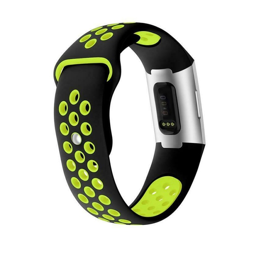 Strap-it® Fitbit Charge 4 sportband (zwart geel)