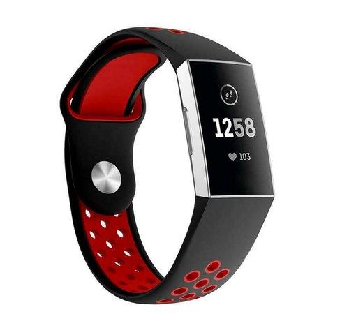 Strap-it® Strap-it® Fitbit Charge 3 sport bandje (zwart rood)