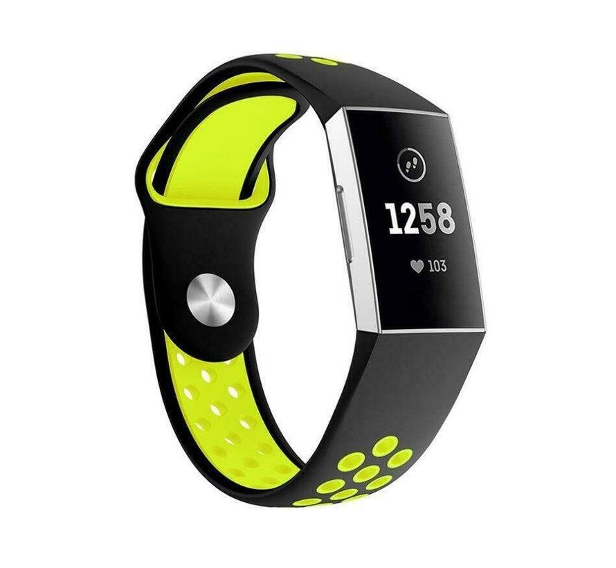 Strap-it® Fitbit Charge 3 sport bandje (zwart geel)