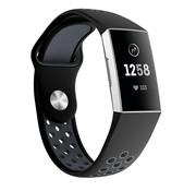 Strap-it® Fitbit Charge 3 sport bandje (zwart grijs)
