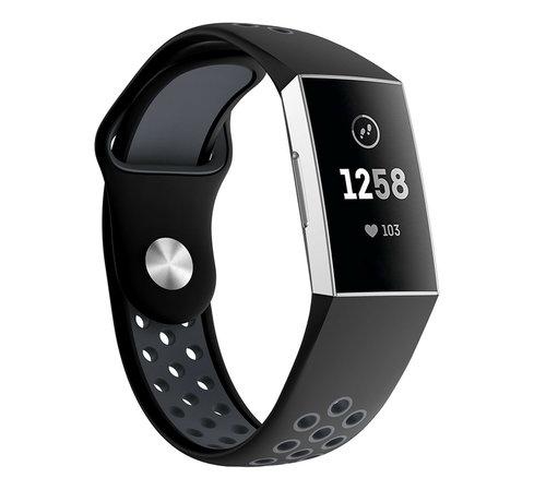 Strap-it® Strap-it® Fitbit Charge 3 sport bandje (zwart grijs)