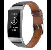 Strap-it® Fitbit Charge 4 leren bandje (zwart)