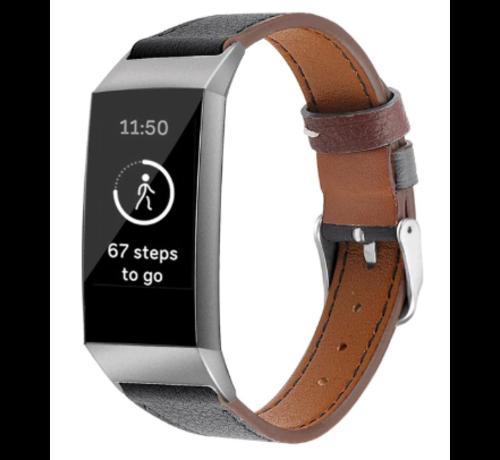 Strap-it® Strap-it® Fitbit Charge 4 leren vrouwenbandje (zwart)