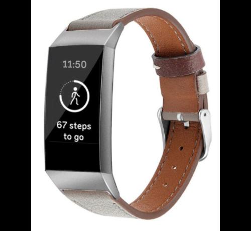 Strap-it® Strap-it® Fitbit Charge 3 leren bandje (donkergrijs)