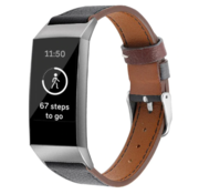 Strap-it® Fitbit Charge 3 leren bandje (zwart)