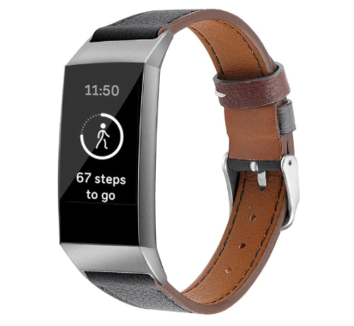 Strap-it® Strap-it® Fitbit Charge 3 leren vrouwenbandje (zwart)