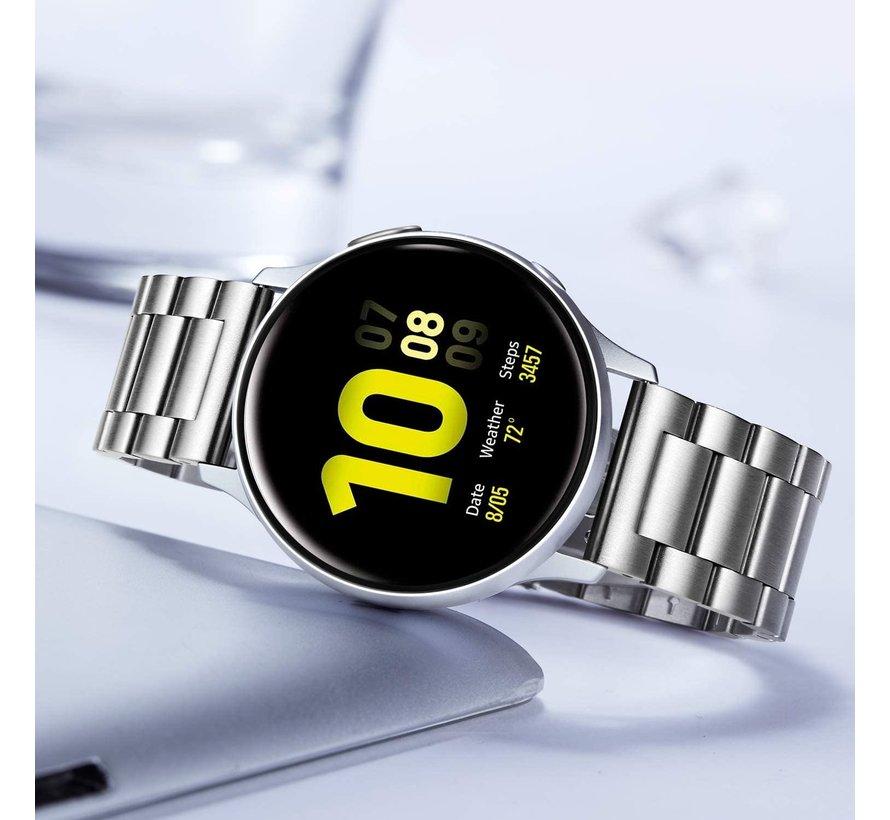 Strap-it® Samsung Galaxy Watch Active stalen band (zilver)