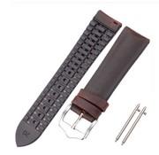 Samsung Galaxy Watch siliconen / leren bandje 42mm (zwart/bruin)