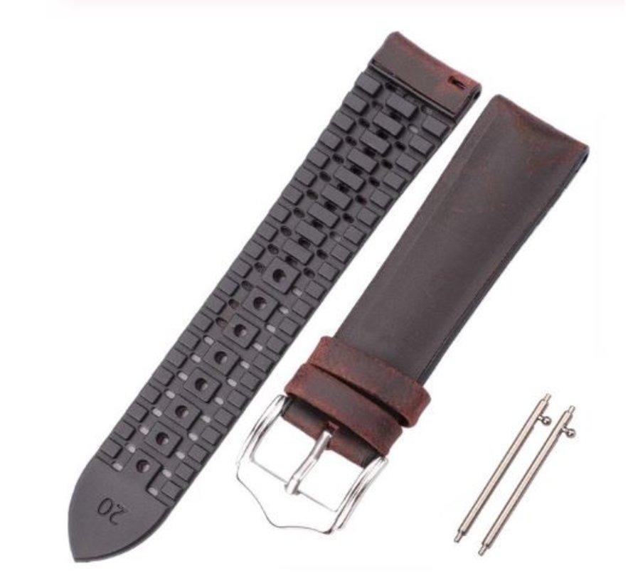 Strap-it® Samsung Galaxy Watch siliconen / leren bandje 41mm / 42mm (zwart/bruin)