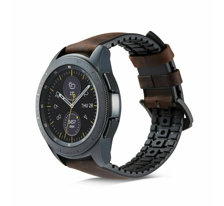 Strap-it® Samsung Galaxy Watch siliconen / leren bandje 45mm / 46mm (zwart/bruin)