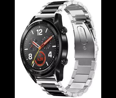 Strap-it® Strap-it® Huawei Watch GT stalen band (zilver/zwart)