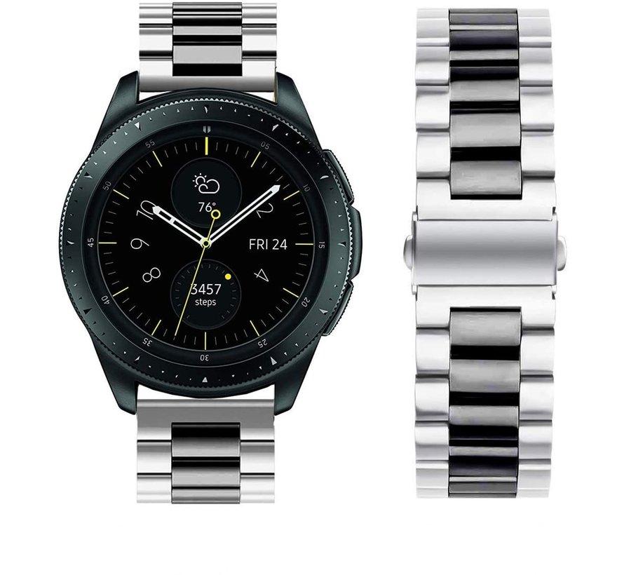 Strap-it® Samsung Galaxy Watch stalen band 41mm / 42mm (zilver/zwart)