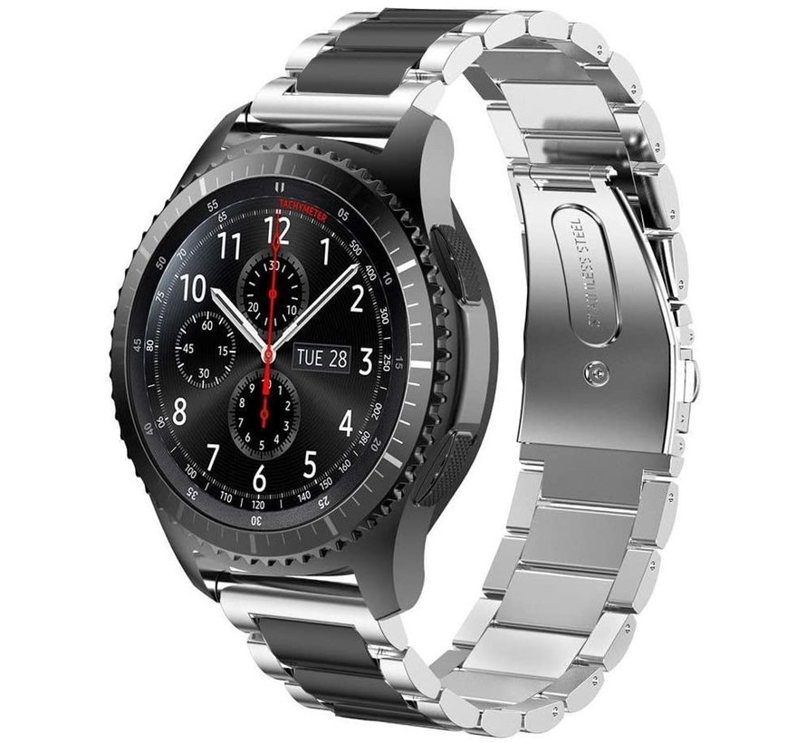 Strap-it® Samsung Galaxy Watch stalen band 45mm / 46mm (zilver/zwart)
