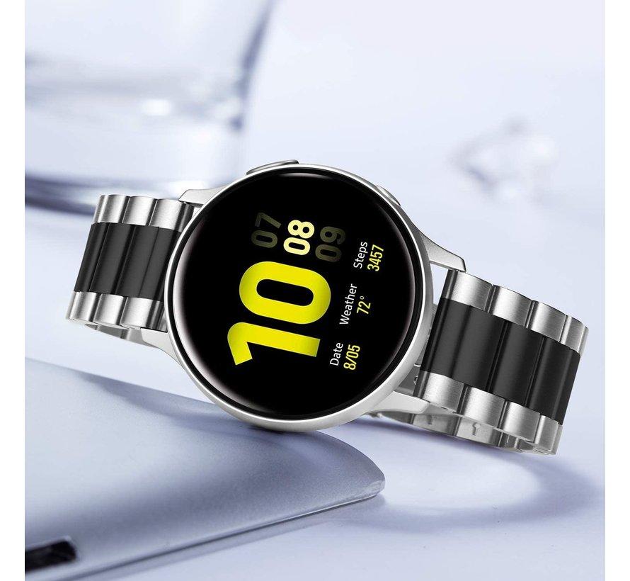 Strap-it® Samsung Galaxy Watch Active stalen band (zilver/zwart)