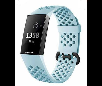 Strap-it® Strap-it® Fitbit Charge 4 siliconen bandje met gaatjes (mint)