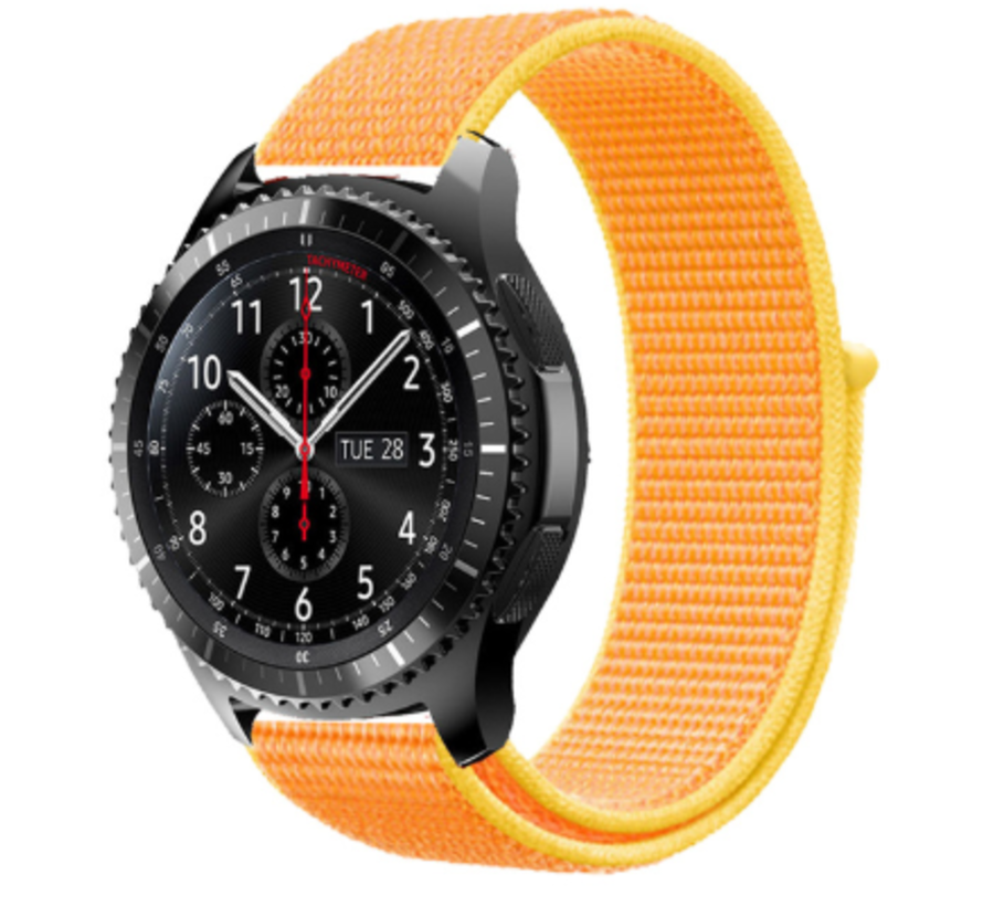 Strap-it® Samsung Galaxy Watch 45mm / 46mm nylon band (lichtgeel)