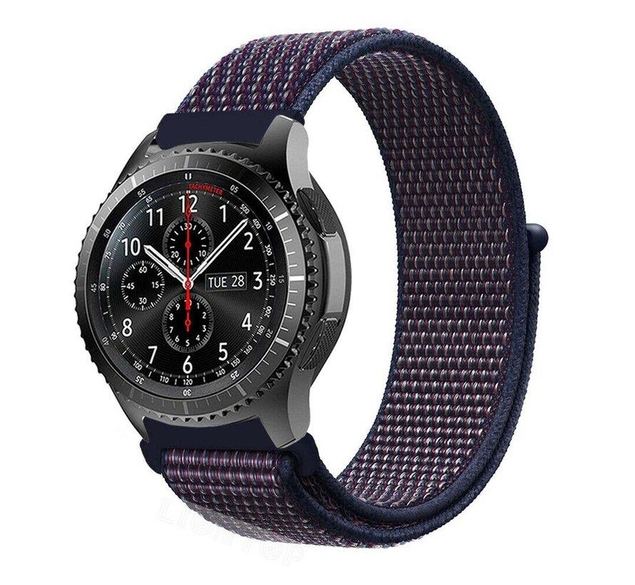 Strap-it® Samsung Galaxy Watch 45mm / 46mm nylon band (paars-blauw)